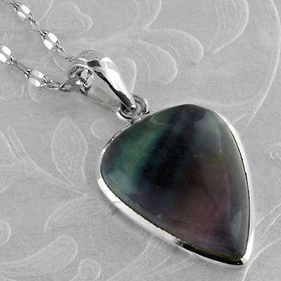 Silver and fluorite necklace
