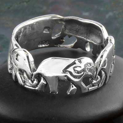 Silver elephant band ring