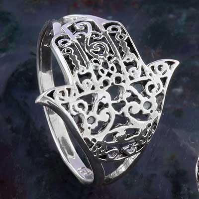 Silver ornate Hamsa ring