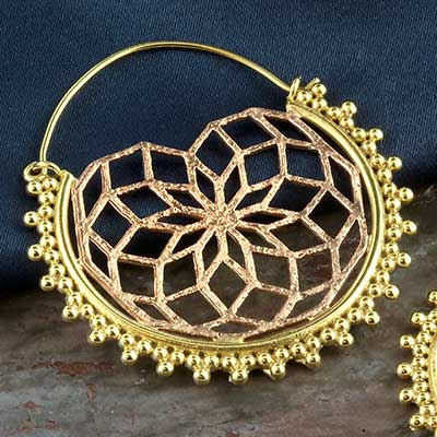 Brass flower burst hoops