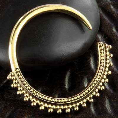 Brass Beaded Hoops