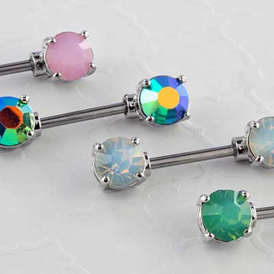 Prong set opalite nipple barbell