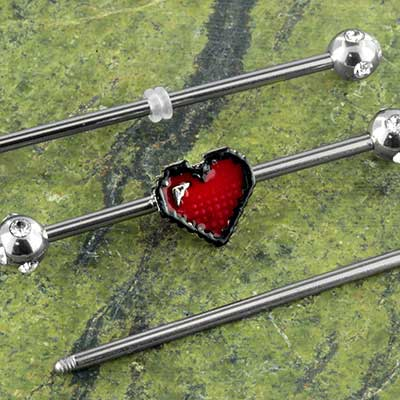 Pixelated heart industrial barbell set