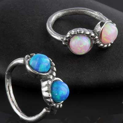 Double opal seamless ring
