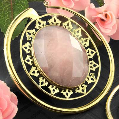 Solid Brass Oval Puj Ju Hoops with Rose Quartz