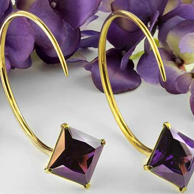 Solid Brass Large Tsabit Design with Faceted Purple Glass