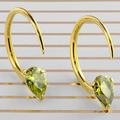 Solid Brass Tiny Tsabit Design with Faceted Yellow Glass