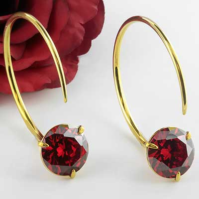 Solid Brass Medium Tsabit Design with Faceted Red Glass