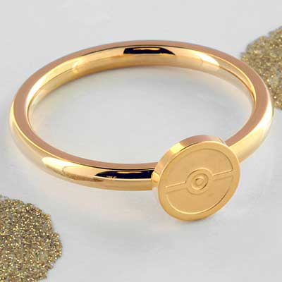 Gold plated pokeball ring