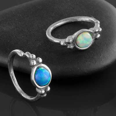 Beaded Opal Cluster Seamless Ring