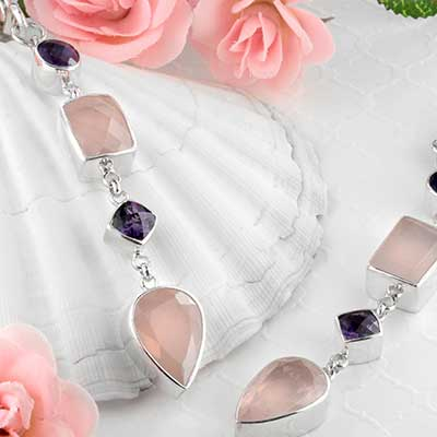 Silver Rose Quartz with Amethyst Jewel Weights