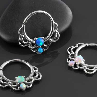 Double Opal Drapery Seamless Ring