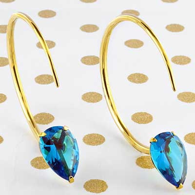 Solid Brass Large Tsabit Design with Faceted Blue Glass