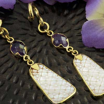 Solid Brass and Mother of Pearl with Amethyst Weights