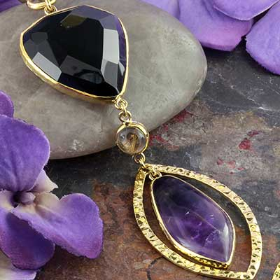 Solid Brass and Black Onyx with Amethyst Movement Weights