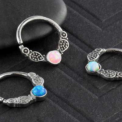 Opal Embellished Seamless Ring