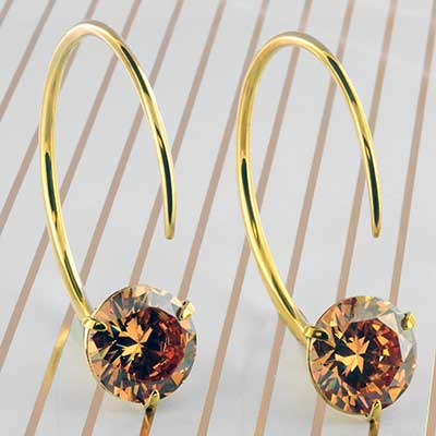 Solid Brass Medium Tsabit Design with Faceted Peach Glass