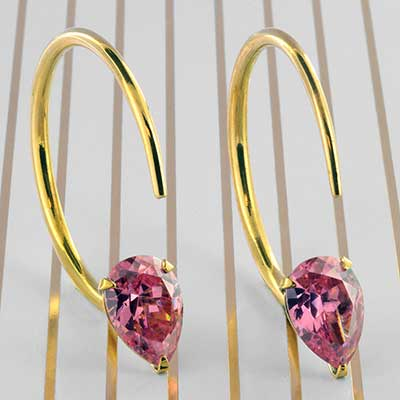 Solid Brass Small Tsabit Design with Faceted Pink Glass