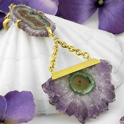 Solid Brass and Double Amethyst Stalactite Weights