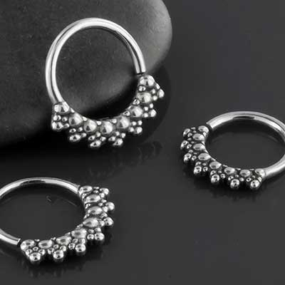 Beaded Rays Septum Seamless Ring
