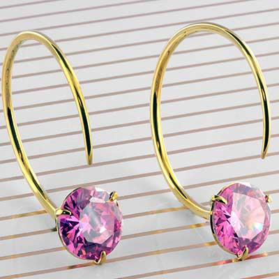 Solid Brass Medium Tsabit Design with Faceted Pink Glass
