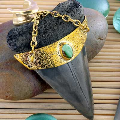 Solid Brass and Megalodon Teeth Weights with Turquoise