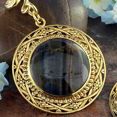 Solid brass and blue tiger eye medallion weights