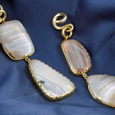 Solid Brass with Thunder Egg Agate Weights