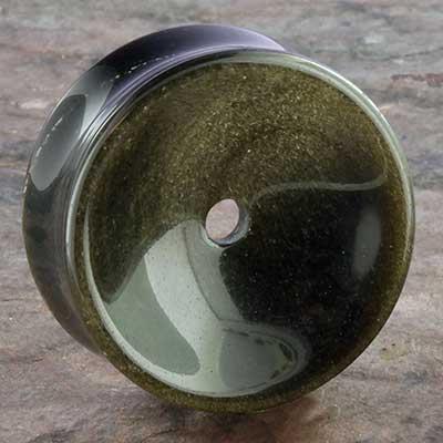 Golden obsidian concave eyelets