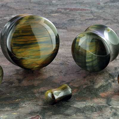 Blue Tiger Eye Stone Plug