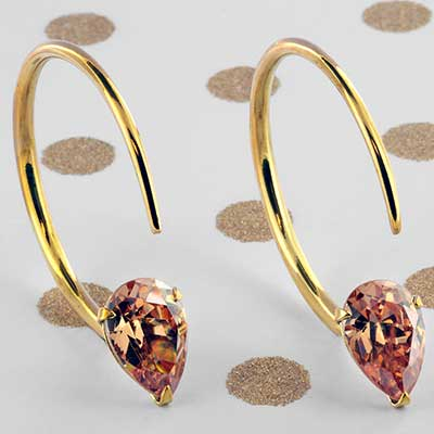 Solid Brass Small Tsabit Design with Faceted Peach Glass
