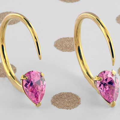 Solid Brass Tiny Tsabit Design with Faceted Pink Glass