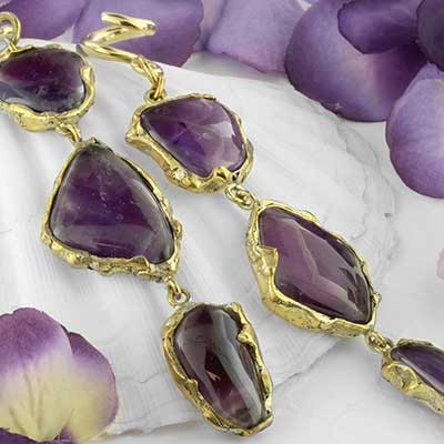 Solid brass and amethyst triple dangle weights