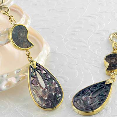 Solid brass and black mother of pearl teardrop weights