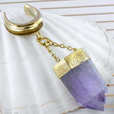 Solid brass and amethyst crystal weights