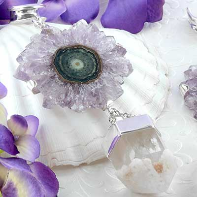 Silver and amethyst stalactite weights