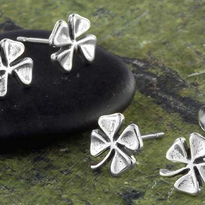 Silver four leaf clover earrings