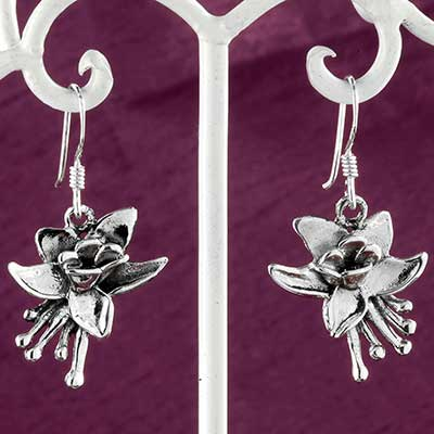 Silver columbine flower earrings