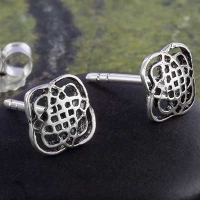 Silver floral celtic knot earrings