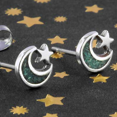 Silver and turquoise moon earrings