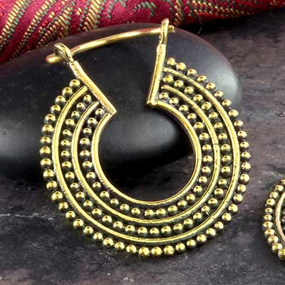 Brass Beaded Band Hoops