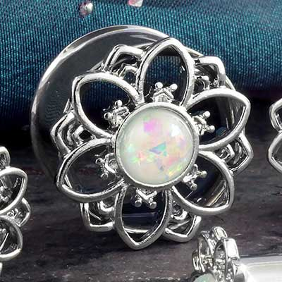 Synthetic White Opal Flower Plug