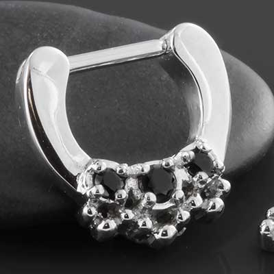 Ornate Triple Jewel Septum Clicker