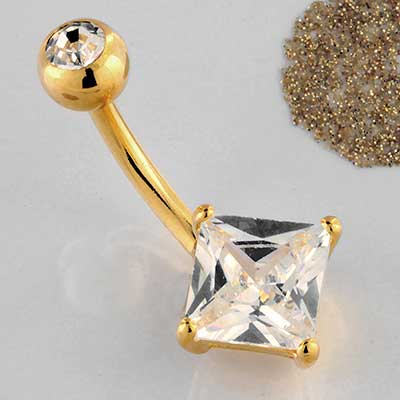 Princess Cut CZ Navel