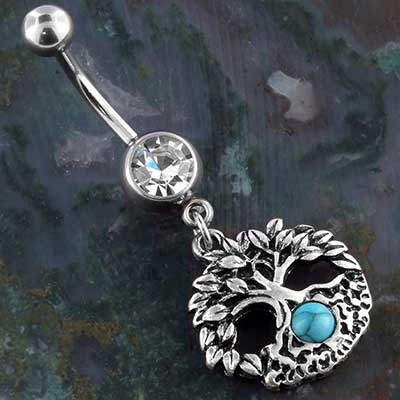 Synthetic turquoise tree of life navel