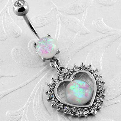 Opal Sparkle Heart Navel