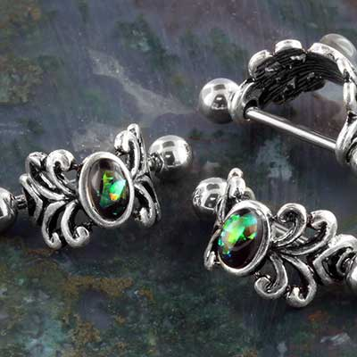 Ornate Synthetic Black Opal Cartiledge Cuff
