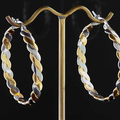 Duo Tone Twisted Hoops