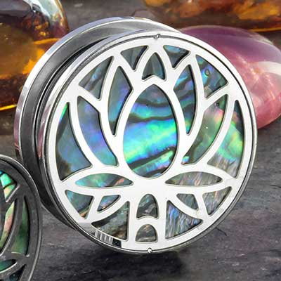 Lotus flower plugs with abalone shell