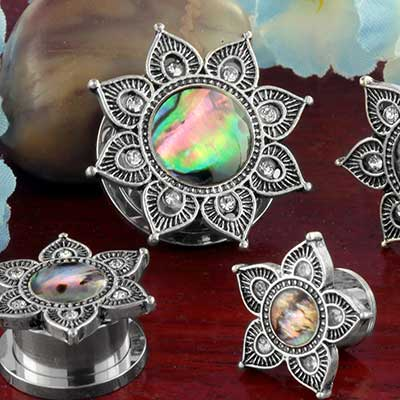 Mandala flower plugs with abalone shell